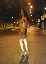 Nikki posing as a street prostitute
