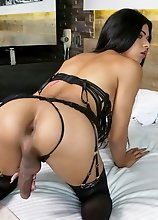 Young tgirl Nikole Flakita stripping, showing off her perfect booty and stroking her cock until she shoots a load of cum!