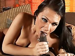 Sweet Ashley George sucking on a huge black cock