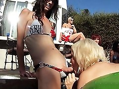 Mandy in a crazy TS pool orgy