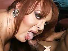 Hot tgirl Wendy getting drilled by two black studs