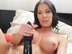 Marissa Minx is Horny in Bed with a Huge Black Dildo to Pleasure Her Tight Hole