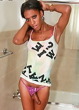 Hannah is a nice ebony tgirl with long slender body and small tits and huge cock.