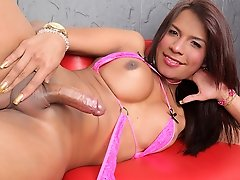 Shemale Mia Conty loves some solo time to herself for some dildo action!
