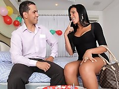 Juliana Soares gets pounded and fucked in her tranny ass!