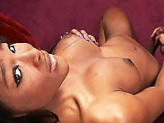 Hot ebony shemale Akira playing with her juicy cock