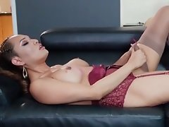 Jessica in Sexy Purple Red Lingerie Strokes her Long, Hard, Love Stick in much Gusto