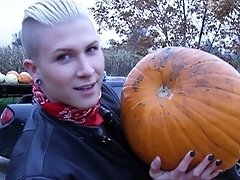 Danni goes dirty with pumpkins