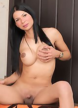 Transsexual Anna Bella has some solo masturbating fun!